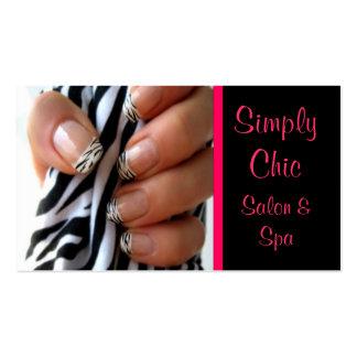 Salon Spa Nail business card pink chic zebra