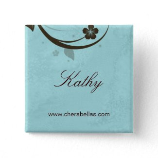 Salon Spa Name Tag Button Brooch watery blue button