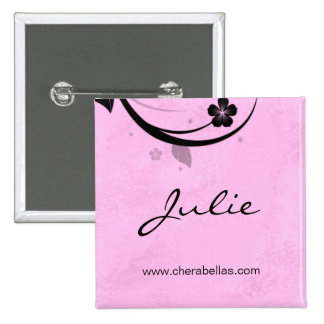 Salon Spa Name Tag Button Brooch watery pink