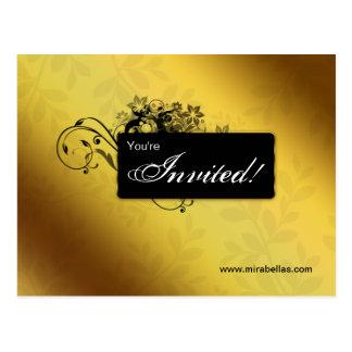 Salon Spa Postcard Invitation Gold Butterfly