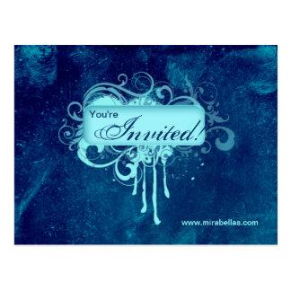 Salon Spa Postcard Invitation Grunge Blue Denim