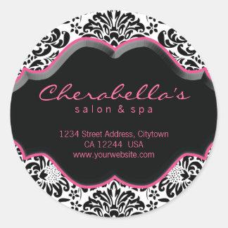 Salon Spa Sticker Pink Black White Damask