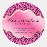 Salon Spa Sticker Pink Black White Leopard