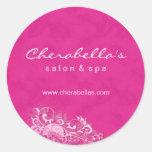Salon Spa Sticker Pink & White Suede