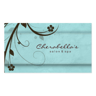 Salon Spa Watery Blue Floral Elegant Double-Sided Standard Business Cards (Pack Of 100)