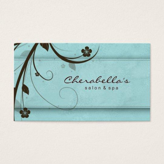 Salon Spa Watery Blue Floral Elegant Business Card