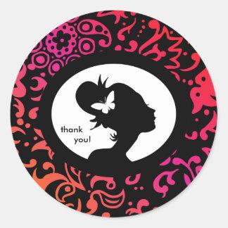 Salon Sticker Butterfly Colorful Woman Silhouette