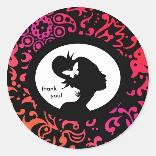 Salon sticker butterfly colorful woman silhouette zazzle for Stickers salon