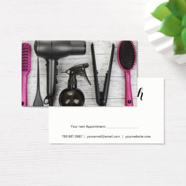 Professional Business Salon Tools Pink and Black Photo Business Card