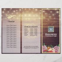 Salon Tri-Fold Brochures Wood Floral String Lights