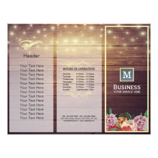 Salon Tri-Fold Brochures Wood Floral String Lights