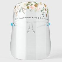 Salon Watercolor Magnolias Roses Floral Face Shield