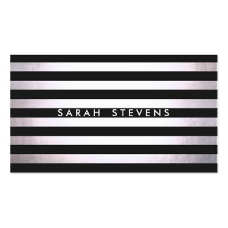 Salón y balneario rayados negros finos de plata mo tarjeta de negocio