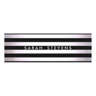 Salón y balneario rayados negros finos de plata mo tarjetas de visita