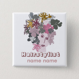 Salons Hair Styling Blooming Goddess Pinback Button