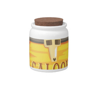 Saloon Sign With Dead Head Drawing Isolated On Whi Candy Jar
