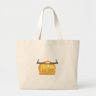 Saloon Sign With Dead Head Drawing Isolated On Whi Large Tote Bag