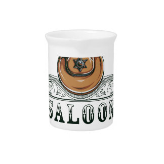 saloon vintage cowboy guns beverage pitcher