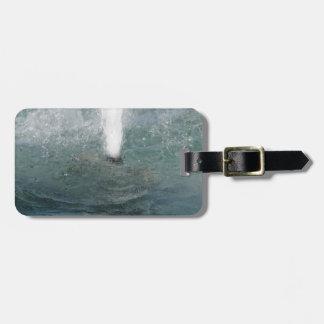 Salpica del agua de la fuente en un día soleado etiquetas maletas