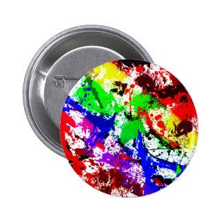 Salpicadura abstracta del arco iris pin redondo de 2 pulgadas