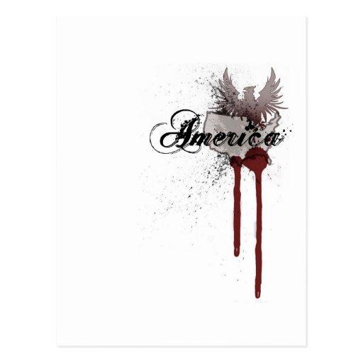 Salpicadura América de la sangre del Grunge Tarjeta Postal