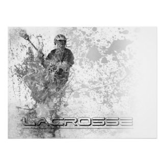 Salpicadura B/W Horizontial del lacrosse del vinta Póster