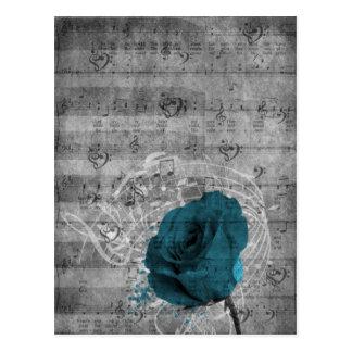 Salpicadura color de rosa azul antigua hermosa de postales