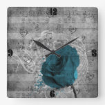 Salpicadura color de rosa azul antigua hermosa de  reloj