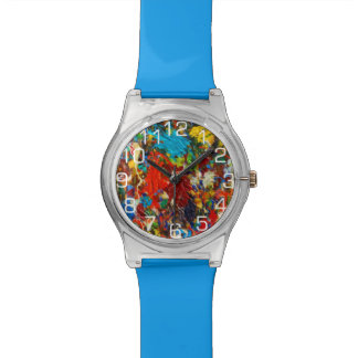 Salpicadura colorida de la pintura con números reloj de mano