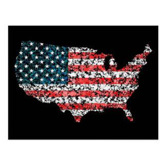 Salpicadura de la bandera del mapa de los E.E.U.U. Postal