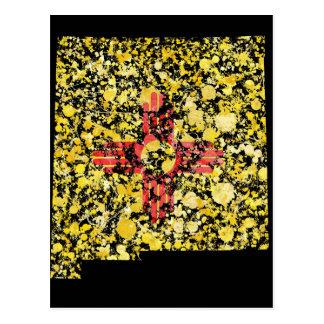 Salpicadura de la bandera del mapa de New México Tarjetas Postales