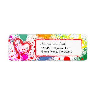 Salpicadura de la pintura de la paz y del amor pe etiqueta de remite