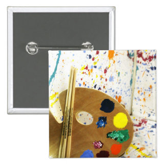 Salpicadura de la pintura de los artistas y plataf pin cuadrada 5 cm