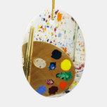 Salpicadura de la pintura de los artistas y plataf ornamento para arbol de navidad