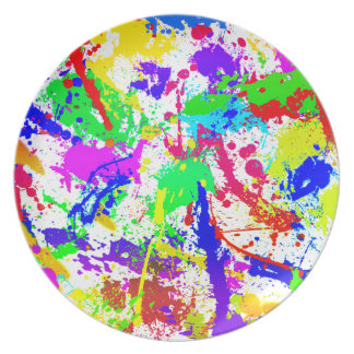 Salpicadura de la pintura del arco iris plato de cena