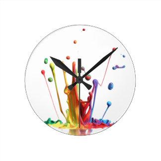 Salpicadura de la pintura del arco iris relojes de pared