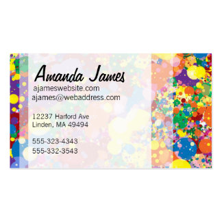 Salpicadura de la pintura del arco iris tarjetas de visita