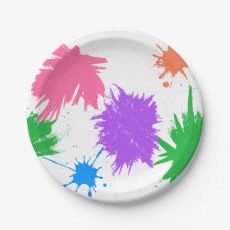 Salpicadura de la pintura del fiesta del arte plato de papel de 7 pulgadas