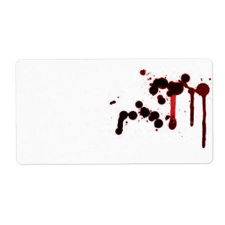 Salpicadura de la sangre del diseñador etiquetas de envío
