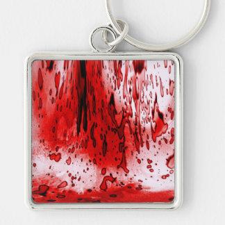 Salpicadura de la sangre llavero cuadrado plateado