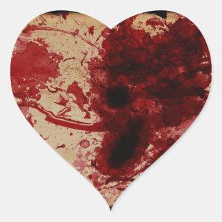 Salpicadura de la sangre pegatina en forma de corazón