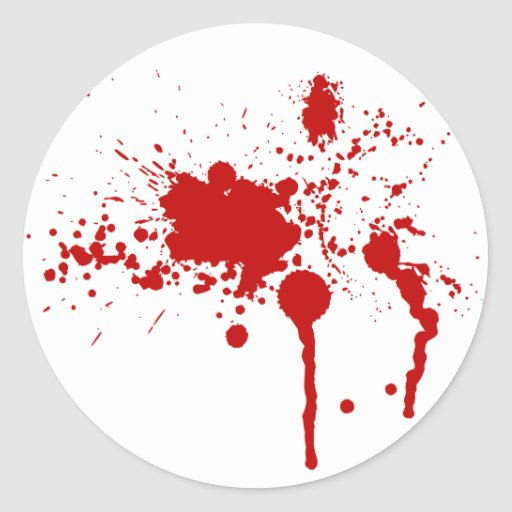 Salpicadura de la sangre pegatina redonda
