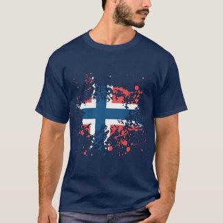 Salpicadura de la tinta de la bandera de Noruega Playera