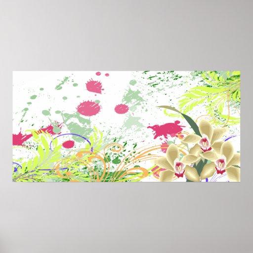 salpicadura de las orquídeas póster