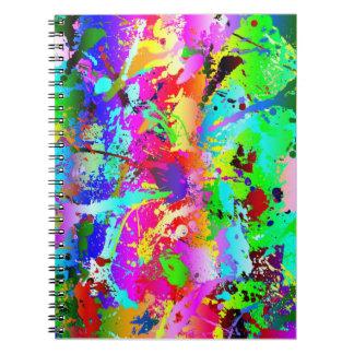 Salpicadura de neón de la pintura del arco iris libros de apuntes
