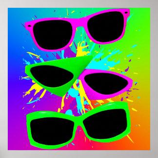 Salpicadura de neón de las gafas de sol del vintag impresiones