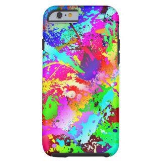 Salpicadura de neón del arco iris funda de iPhone 6 tough
