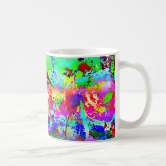 Salpicadura de neón fresca del arco iris taza básica blanca