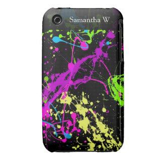 Salpicadura de neón retra fresca de la pintura en Case-Mate iPhone 3 protectores