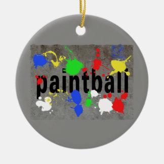 Salpicadura de Paintball en el muro de cemento Adorno Navideño Redondo De Cerámica